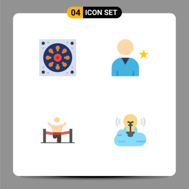 User Interface Pack of 4 Basic Flat Icons of bathroom, business, toilet, star, leader Editable Vector Design Elements icon