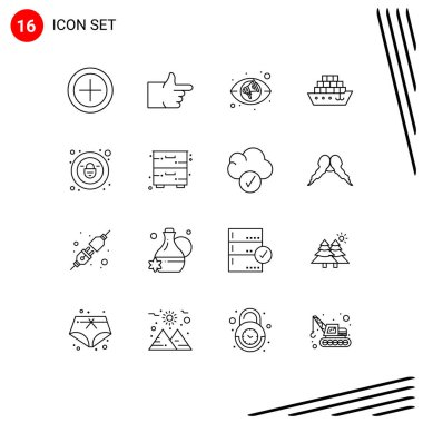 Stock Vector Icon Pack of 16 Line Signs and Symbols for drawer, cabinet, views, security, lock Editable Vector Design Elements icon