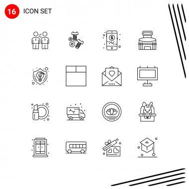 Stock Vector Icon Pack of 16 Line Signs and Symbols for sport, exterior, nut, building, investment Editable Vector Design Elements icon