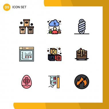 Set of 9 Modern UI Icons Symbols Signs for learning, alphabet, double, static, internet Editable Vector Design Elements icon
