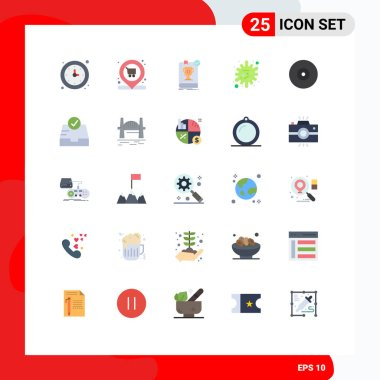 User Interface Pack of 25 Basic Flat Colors of infection, disease, cart, antigen, rule Editable Vector Design Elements