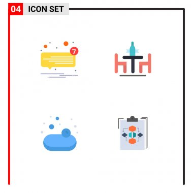 Set of 4 Commercial Flat Icons pack for chat, meeting, speech, conference, shopping Editable Vector Design Elements icon