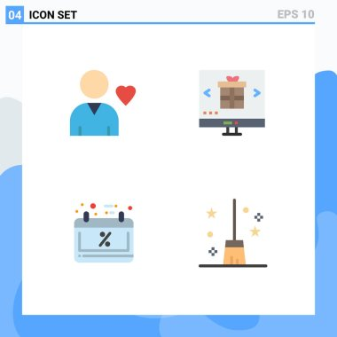 Set of 4 Commercial Flat Icons pack for favorite, calendar, buy, online, schedule sale Editable Vector Design Elements icon