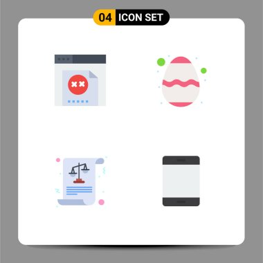 Flat Icon Pack of 4 Universal Symbols of error, justice, easter, festival, computers Editable Vector Design Elements icon
