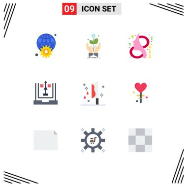 Stock Vector Icon Pack of 9 Line Signs and Symbols for development, coding, plant, women, female Editable Vector Design Elements icon