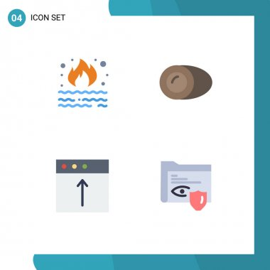 Pack of 4 Modern Flat Icons Signs and Symbols for Web Print Media such as burn, app, pollution, cooking, mac Editable Vector Design Elements icon