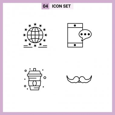 Stock Vector Icon Pack of 4 Line Signs and Symbols for gdpr, food, network, chatting, water Editable Vector Design Elements icon