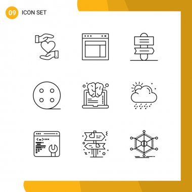 Stock Vector Icon Pack of 9 Line Signs and Symbols for learning, electric, web, charge, sign system Editable Vector Design Elements icon