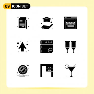 Stock Vector Icon Pack of 9 Line Signs and Symbols for delete, direction, page, up, arrow Editable Vector Design Elements icon