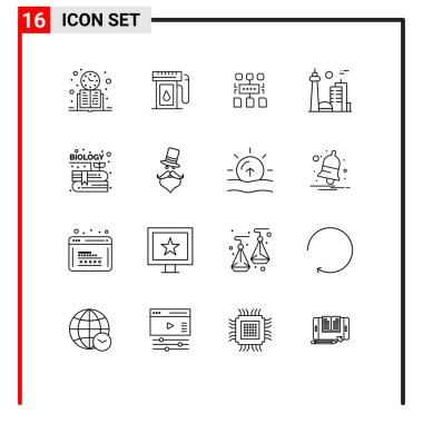 Stock Vector Icon Pack of 16 Line Signs and Symbols for toronto, city, drop, canada, document Editable Vector Design Elements icon