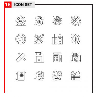 Stock Vector Icon Pack of 16 Line Signs and Symbols for bacteria, medical, money, capture, map Editable Vector Design Elements icon