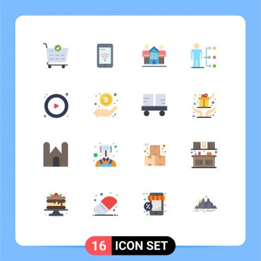 Universal Icon Symbols Group of 16 Modern Flat Colors of control, user, friendly, network, connect Editable Pack of Creative Vector Design Elements icon