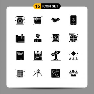 Stock Vector Icon Pack of 16 Line Signs and Symbols for dawonlod, location, agreement, internet, partnership Editable Vector Design Elements icon