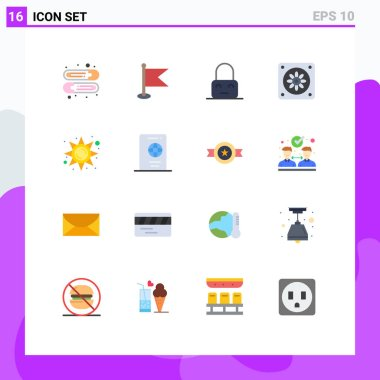 Universal Icon Symbols Group of 16 Modern Flat Colors of holiday, sun, lock, light, fan Editable Pack of Creative Vector Design Elements icon