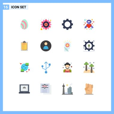 Universal Icon Symbols Group of 16 Modern Flat Colors of report, card, gadget, ribbon, health Editable Pack of Creative Vector Design Elements icon