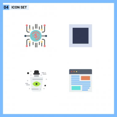 Editable Vector Line Pack of 4 Simple Flat Icons of crowdfund, eye, crowdselling, maximize, application Editable Vector Design Elements icon