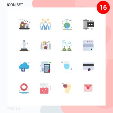 Universal Icon Symbols Group of 16 Modern Flat Colors of academy, photograph, person, film, tube Editable Pack of Creative Vector Design Elements icon