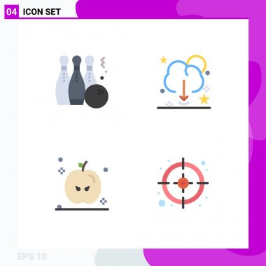 Pack of 4 creative Flat Icons of bowling, server, sport, data, thanksgiving Editable Vector Design Elements icon