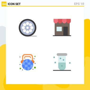 Flat Icon Pack of 4 Universal Symbols of design, education, web, marketplace, learning Editable Vector Design Elements icon