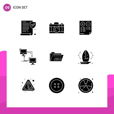 Stock Vector Icon Pack of 9 Line Signs and Symbols for file, computer, document, sync, lan Editable Vector Design Elements icon