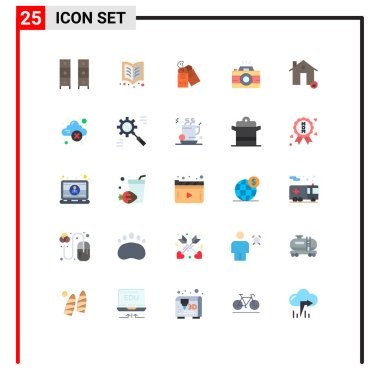 Stock Vector Icon Pack of 25 Line Signs and Symbols for buildings, photo, reading, image, sale Editable Vector Design Elements icon