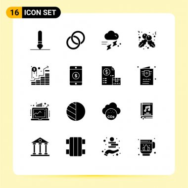 Stock Vector Icon Pack of 16 Line Signs and Symbols for successful, invest, rain, holly, berry Editable Vector Design Elements icon