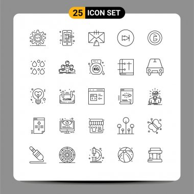 Stock Vector Icon Pack of 25 Line Signs and Symbols for bangladesh, forward, bell, fast, help Editable Vector Design Elements icon