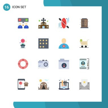 Universal Icon Symbols Group of 16 Modern Flat Colors of achievement, growth, canoe, plant, living Editable Pack of Creative Vector Design Elements icon