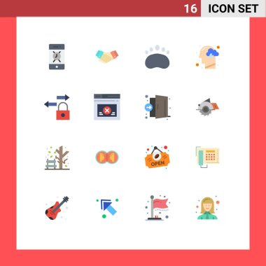 16 Creative Icons Modern Signs and Symbols of data, mind, partner, human, cloud Editable Pack of Creative Vector Design Elements icon