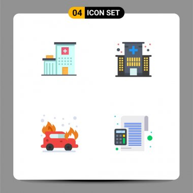 Pack of 4 Modern Flat Icons Signs and Symbols for Web Print Media such as hospital, car, medical, health, firefighter Editable Vector Design Elements icon