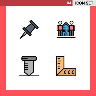 Stock Vector Icon Pack of 4 Line Signs and Symbols for marker, tools, friendly, life, ruler Editable Vector Design Elements icon