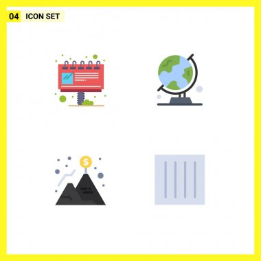 Editable Vector Line Pack of 4 Simple Flat Icons of advertisement, achievement, ad, map, mountain Editable Vector Design Elements icon