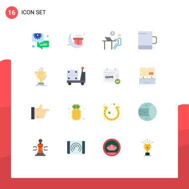 Stock Vector Icon Pack of 16 Line Signs and Symbols for cup, award, desk, mug, staff Editable Pack of Creative Vector Design Elements icon