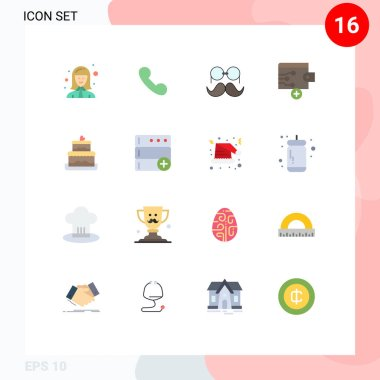 16 Creative Icons Modern Signs and Symbols of cake, finance, call, business, glasses Editable Pack of Creative Vector Design Elements icon