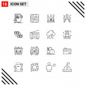 Universal Icon Symbols Group of 16 Modern Outlines of sweet, love, strategy, ice cream, gras Editable Vector Design Elements