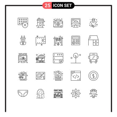 Stock Vector Icon Pack of 25 Line Signs and Symbols for web, settings, usa, online, medical emergency Editable Vector Design Elements icon