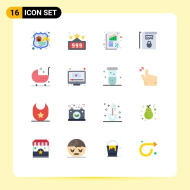 16 Creative Icons Modern Signs and Symbols of disease, baby, business, terms, law Editable Pack of Creative Vector Design Elements icon