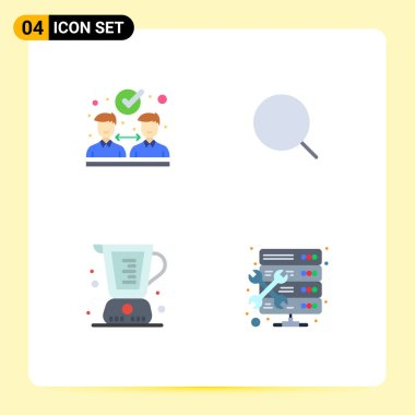 4 User Interface Flat Icon Pack of modern Signs and Symbols of agreement, cooking, search, max, measuring Editable Vector Design Elements icon