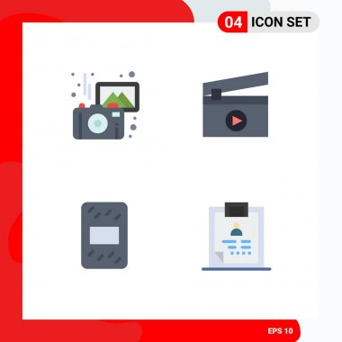 4 User Interface Flat Icon Pack of modern Signs and Symbols of images, pack, camera, media, diagnosis Editable Vector Design Elements icon