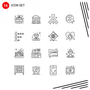 Universal Icon Symbols Group of 16 Modern Outlines of job, science, biology, magnifier, germs Editable Vector Design Elements icon