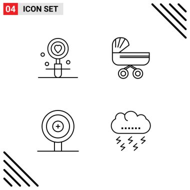 Stock Vector Icon Pack of 4 Line Signs and Symbols for date, stroller, search, baby, finance Editable Vector Design Elements icon