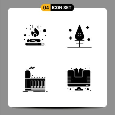 Stock Vector Icon Pack of 4 Line Signs and Symbols for campfire, industry, flame, giving, production Editable Vector Design Elements icon