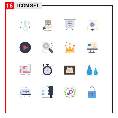 Universal Icon Symbols Group of 16 Modern Flat Colors of business idea, idea, hand, bulb, performance Editable Pack of Creative Vector Design Elements icon