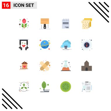 Universal Icon Symbols Group of 16 Modern Flat Colors of nature, ear buds, notepad, education, bread Editable Pack of Creative Vector Design Elements icon
