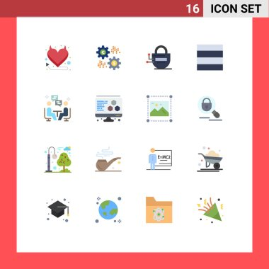 Universal Icon Symbols Group of 16 Modern Flat Colors of communication, user, lock, meeting, grid Editable Pack of Creative Vector Design Elements icon