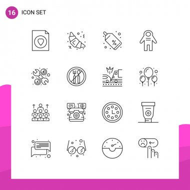 Stock Vector Icon Pack of 16 Line Signs and Symbols for fasting, tool, tag, repair, people Editable Vector Design Elements icon
