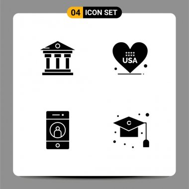 Stock Vector Icon Pack of 4 Line Signs and Symbols for bank, friend, service, american, mobile Editable Vector Design Elements icon