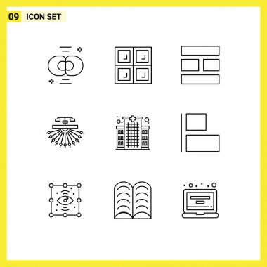 Stock Vector Icon Pack of 9 Line Signs and Symbols for building, structure, collage, site, optimization Editable Vector Design Elements icon