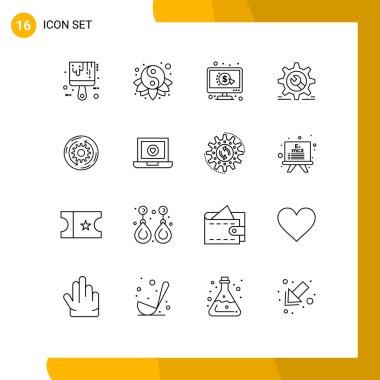 Modern Set of 16 Outlines Pictograph of solution, wrench, click, wheel, setting Editable Vector Design Elements
