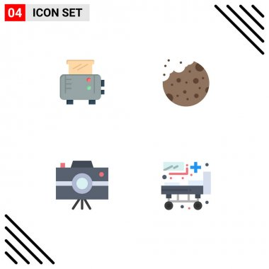 Set of 4 Commercial Flat Icons pack for toast, journalist camera, bake, food, bed Editable Vector Design Elements icon
